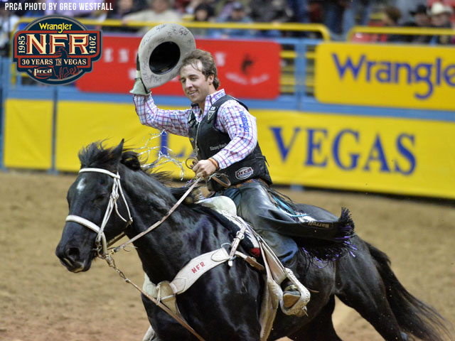 Sage Kimzey tied the Wrangler NFR bull riding record with his fourth round win on Friday night and can set a new record on Saturday night.