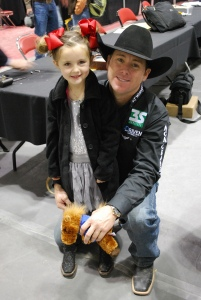 Trevor Brazile's daughter, Style, joined him in the Wrangler NFR press room with the rest of their family after the world champions' ceremony.