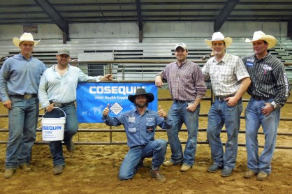 Team Sundell -- Pictured left to right are J.D. Struxness, Ace Campbell, Wade Sundell, Sean Thomas, Dane Hanna and Sean Mulligan. Sundell was the team buyer for the Cosequine Team Incentive which included Struxness, Campbell, Thomas and Hanna. The second annual Nothin' But Try Steer Wrestling was organized by Mulligan. Hanna and Sundell also volunteered for the event.