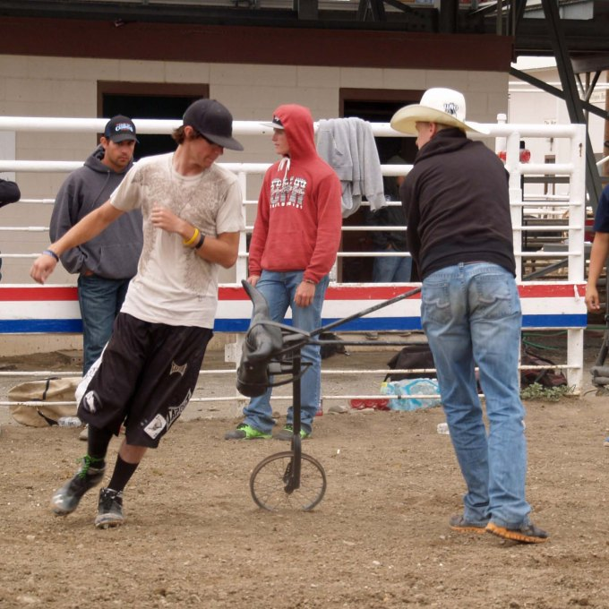 A steer head on a unicycle was used to simulate a bull coming after a student.
