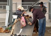 6 time world champion saddle bronc rider showing a future star the correct foot placement