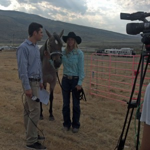 Sarah and Bling being interviewed at the Cody Stampede