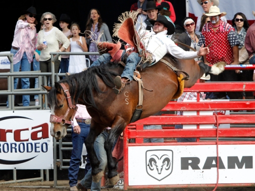 Kaycee Field's winning ride on Calgary Stampede's Special Delivery at the Washington State Fair Rodeo – PRCA photo by (c)Kent Soules