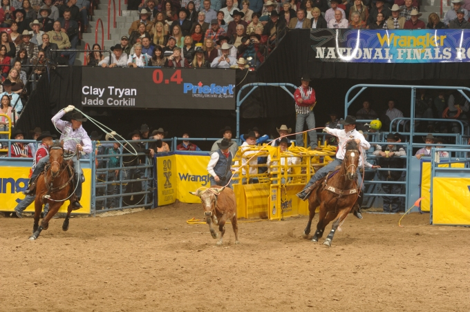 Clay Tryan Jade Corkill PRCA photo by Mike Copeman