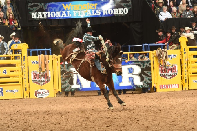 LJS_nfr 3 Jacobs Crawley1089 83.5 pts on #371 Lipstick and Whiskey, Powder River Rodeo PRCA photo by Larry Smith